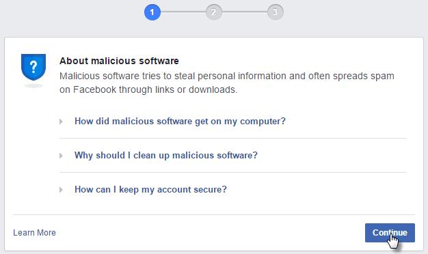 giải quyết nhanh facebook yêu cầu quét virus